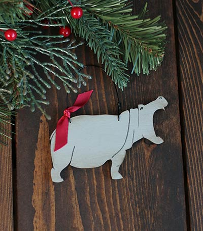 Hippo Christmas Ornament.Hippo Personalized Ornament Handmade Start To Finish In The