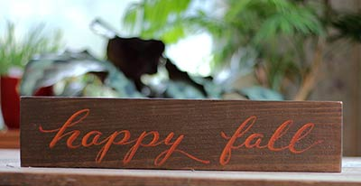 Happy Fall Hand Lettered Sign