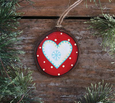 Nordic Heart Wood Slice Ornament - White (Personalized)