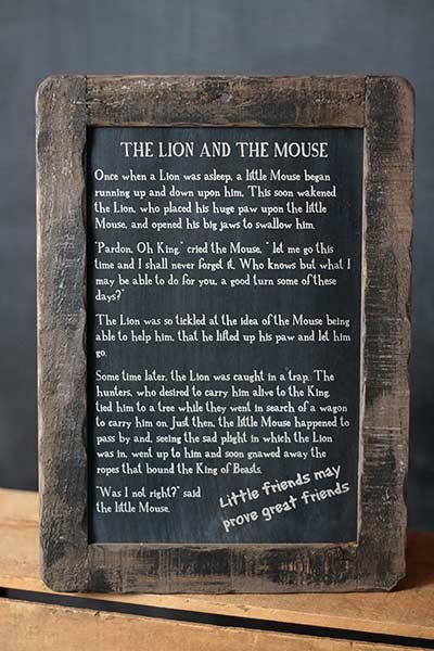 Lion and Mouse Folk Tale Blackboard