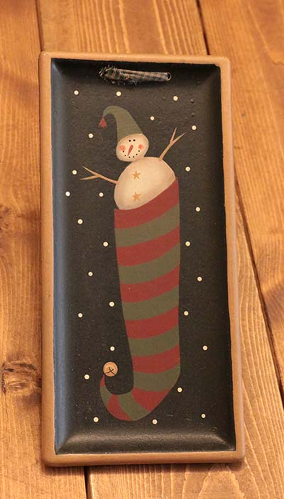 Stocking Hanging Tray with Snowman