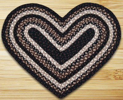 Mocha / Frappuccino HEART Jute Rug