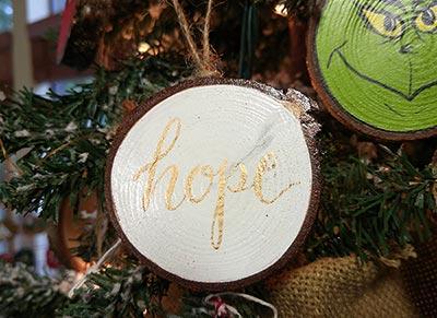 Hope Wood Slice Ornament