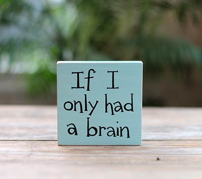 If I Only Had A Brain Shelf Sitter Sign