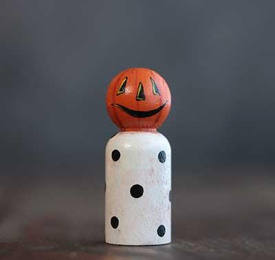 Polka Dot Jack o'Lantern Peg Doll (or Ornament)
