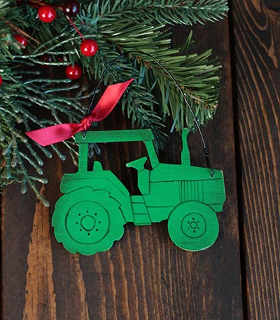 Green Tractor Personalized Ornament By Our Backyard Studio The Weed Patch