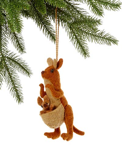 Kangaroo with Kid Wool Ornament