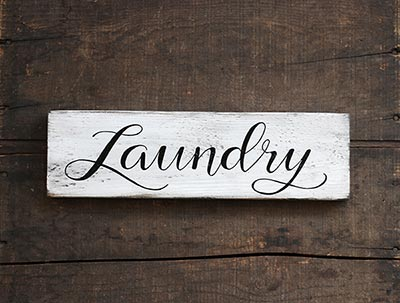 Laundry Distressed Wood Sign