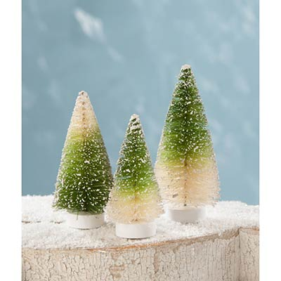 Mini Green Ombre Bottle Brush Trees (Set of 3)
