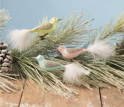 Pastel Bird Clip Ornaments (Set of 3)