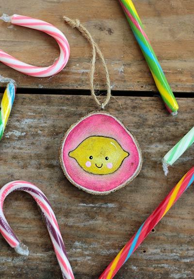 Happy Lemon Wood Slice Ornament