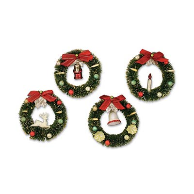 Bottlebrush Wreath Ornaments (Set of 4)