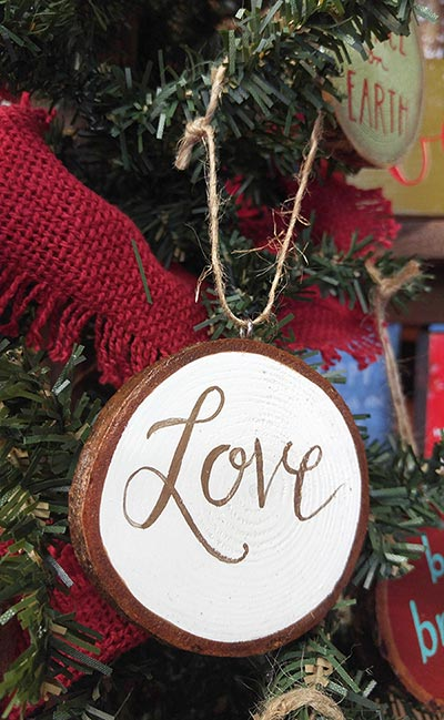 Love Wood Slice Ornament - White & Gold
