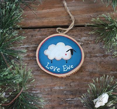 Blue Love Ewe Sheep Wood Slice Ornament (Personalized)