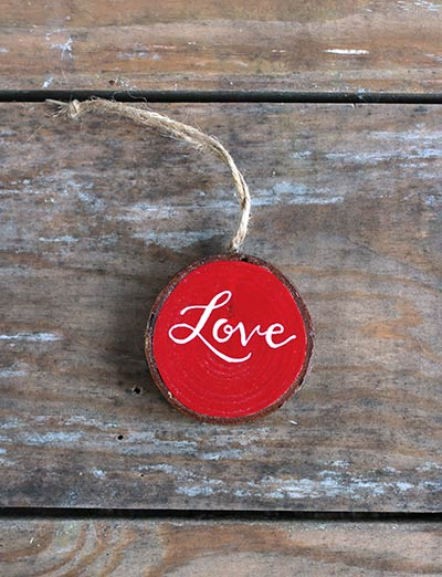 Love Wood Slice Ornament - Red