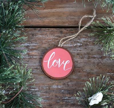 Love Wood Slice Ornament - Salmon Pink