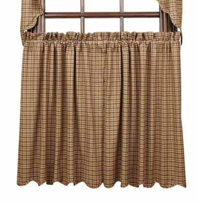 Millsboro Cafe Curtains - 36 inch (Burgundy and Navy Plaid)
