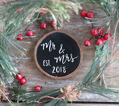 Mr & Mrs with Year Wood Slice Ornament (Personalized)