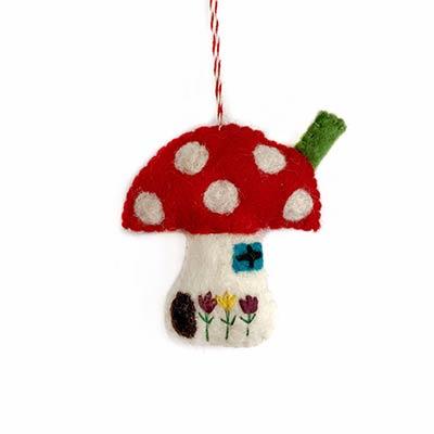 Mushroom House Ornament