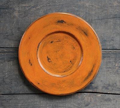 Distressed Wood Candle Plate - Pumpkin Orange