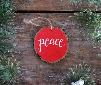 Peace Wood Slice Ornament