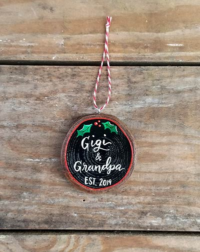 Gigi & Grandpa Wood Slice Ornament (Personalized)