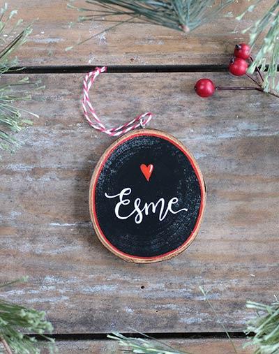 Custom Name Wood Slice Ornament with Heart