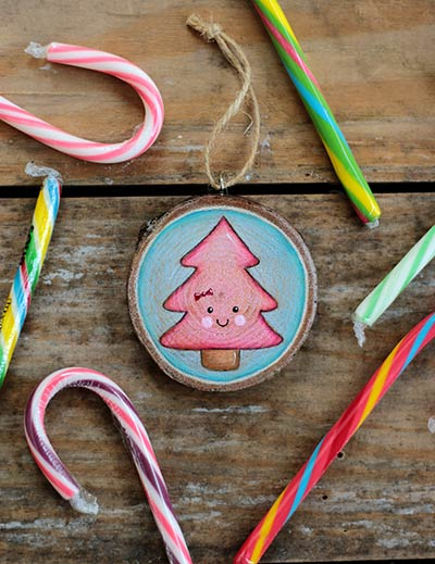 Happy Tree Wood Slice Ornament