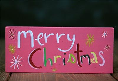 Merry Christmas Shelf Sitter - Retro Pink