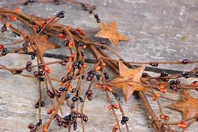 Primitive Pip Berry & Rusty Star Garland - 40 inch