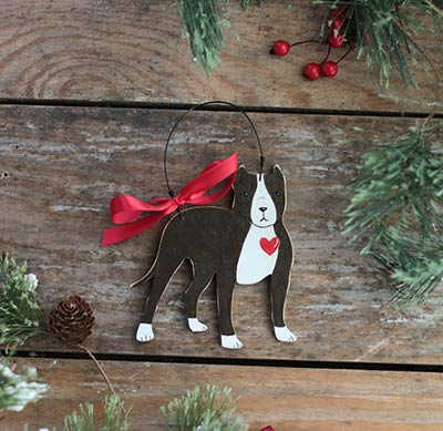 Pitbull Christmas Ornament.Brown Pit Bull With Heart Ornament The Weed Patch