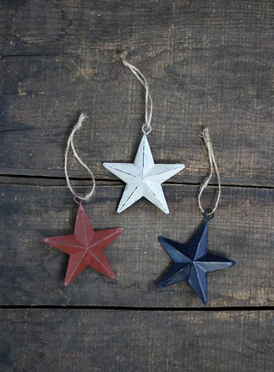 Americana 3 inch Star Ornaments (Set of 3)