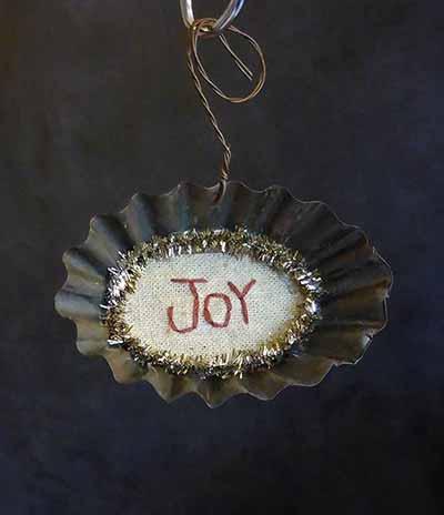 Tart Tin Stitchery Ornament - Joy