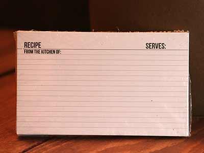 Box Sign Recipe Cards