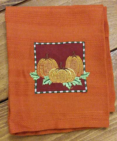 Pumpkin Spice Embellished Dishtowel