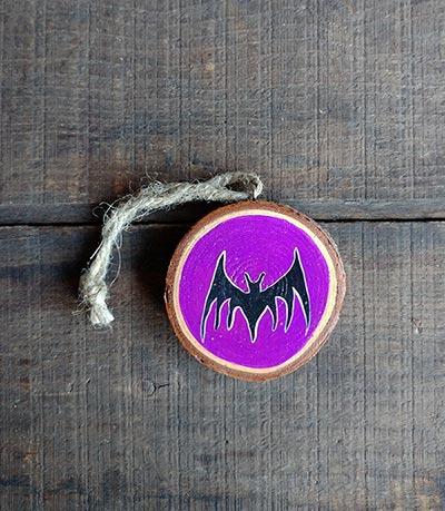 Bat Wood Slice Ornament