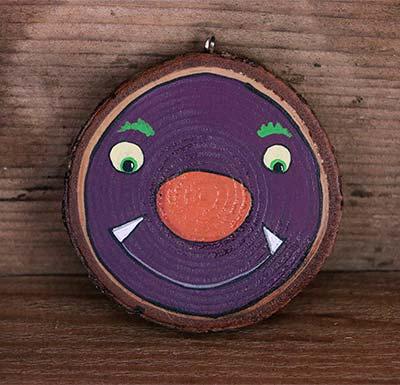 Purple Monster Wood Slice Ornament