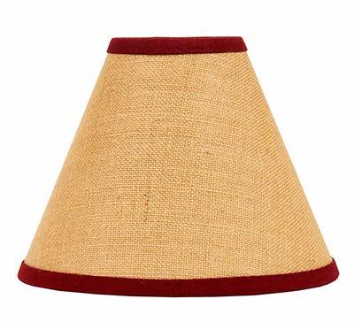 Burlap Red Lamp Shade - 10 inch