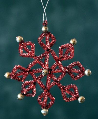 Red Tinsel Snowflake Ornament
