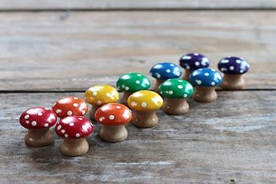 Rainbow Mushroom Sorting Set (12 pc) - Mini size