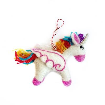Rainbow Unicorn Wool Ornament
