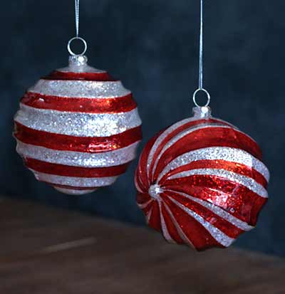 Red and White Glitter Swirl Ornament