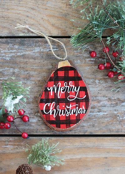 Buffalo Plaid Christmas Wood Slice Ornament (Personalized)