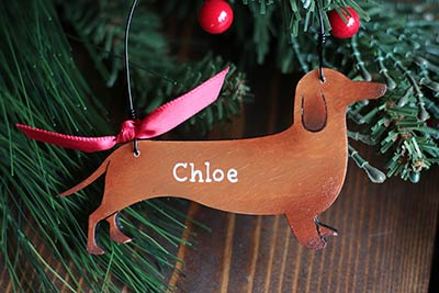 dachshund christmas ornament red personalized