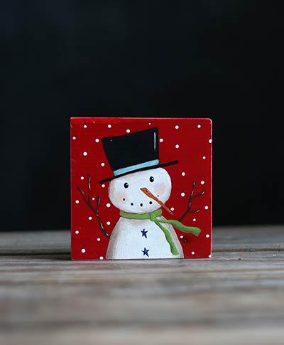 Red Snowman Folk Art Painting Shelf Sitter