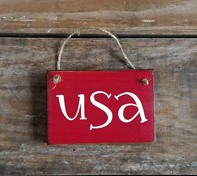 USA Small Wooden Sign - Red
