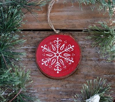 Snowflake 2 Wood Slice Ornament - Red