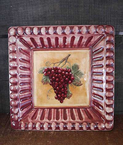 Meritage Grapes Plate - Red