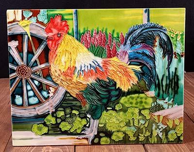 Rooster Art Tile