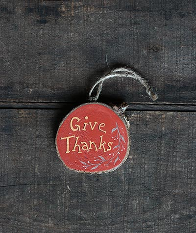 Give Thanks Wood Slice Ornament with Vine